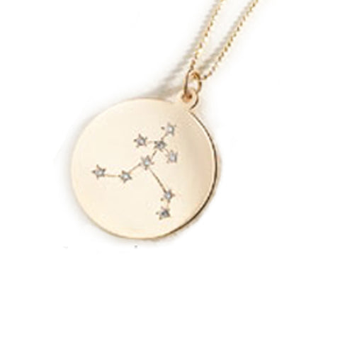 Zodiac Constellation Collection: Aquarius 14K Gold & Diamond Pendant Necklace
