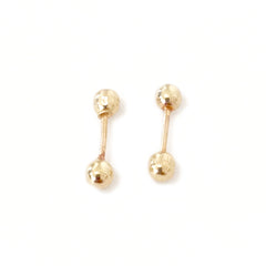 Barbell Collection: XS 14K Gold Hollow Barbell Stud Earrings