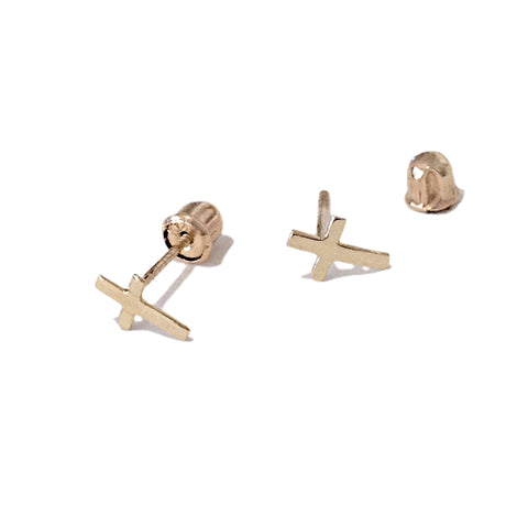 14K Gold XS Cross Scew Back Stud Earrings