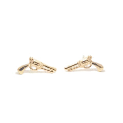 14K Gold Gun Stud Earrings