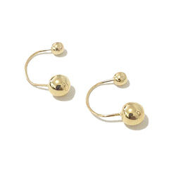 Barbell Collection: 14K Gold Double Ball Drop Earrings