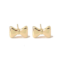 14K Gold Bowtie Stud Earrings