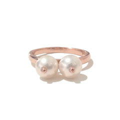 Cultured White Freshwater Pearl & 14K Gold Seins Ring