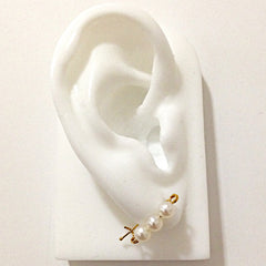 White Freshwater Pearl 14K Gold Small Size Safety Pin Earring ~ In Stock!