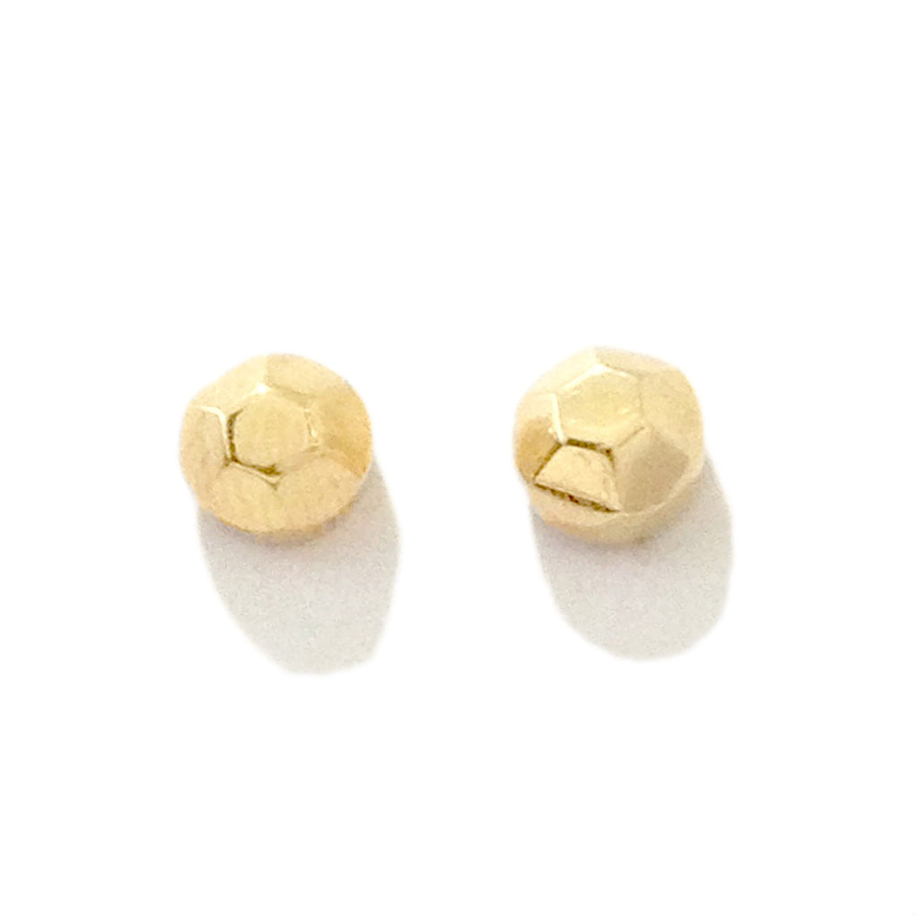 14K Gold Faceted Dome Stud Earrings