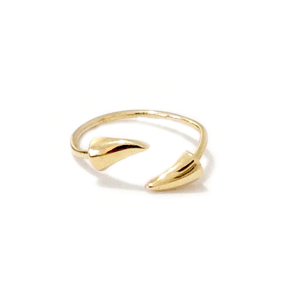 14K Gold Rose Thorn Bypass Ring