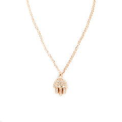 14K Gold & Pavé Diamond Hamsa Necklace