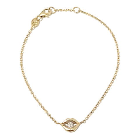 14K Gold & Diamond Lip Pout Bracelet