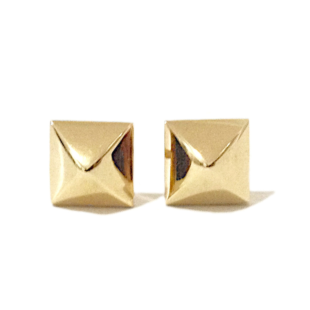 Spike Collection: 14K Gold Pyramid Spike Stud Earrings