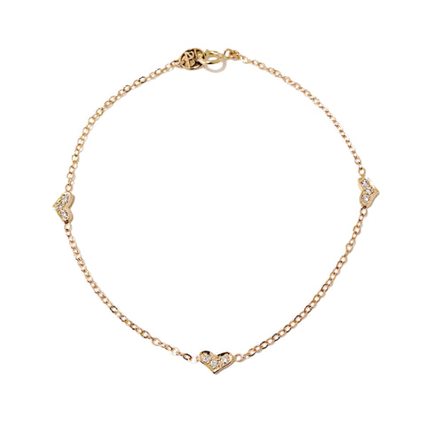 14K Gold Pavé Diamond Triple XS Sweetheart Bracelet