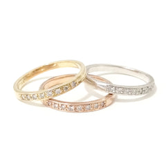 14K Gold & Pavé Diamond Quarter Eternity Band