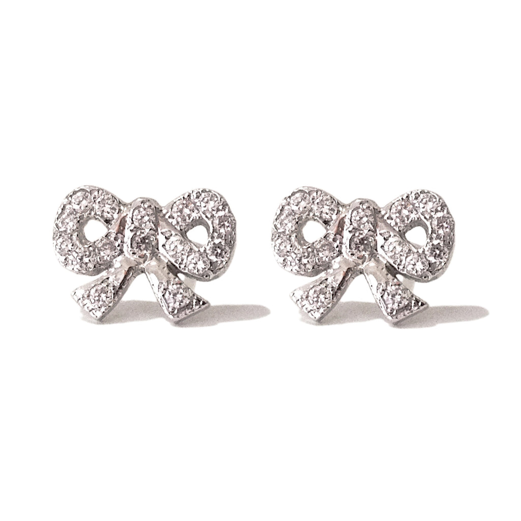 14K Gold & Pavé Diamond Bow Stud Earrings