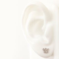 14K Gold & Pavé Diamond XS Butterfly Stud Earrings
