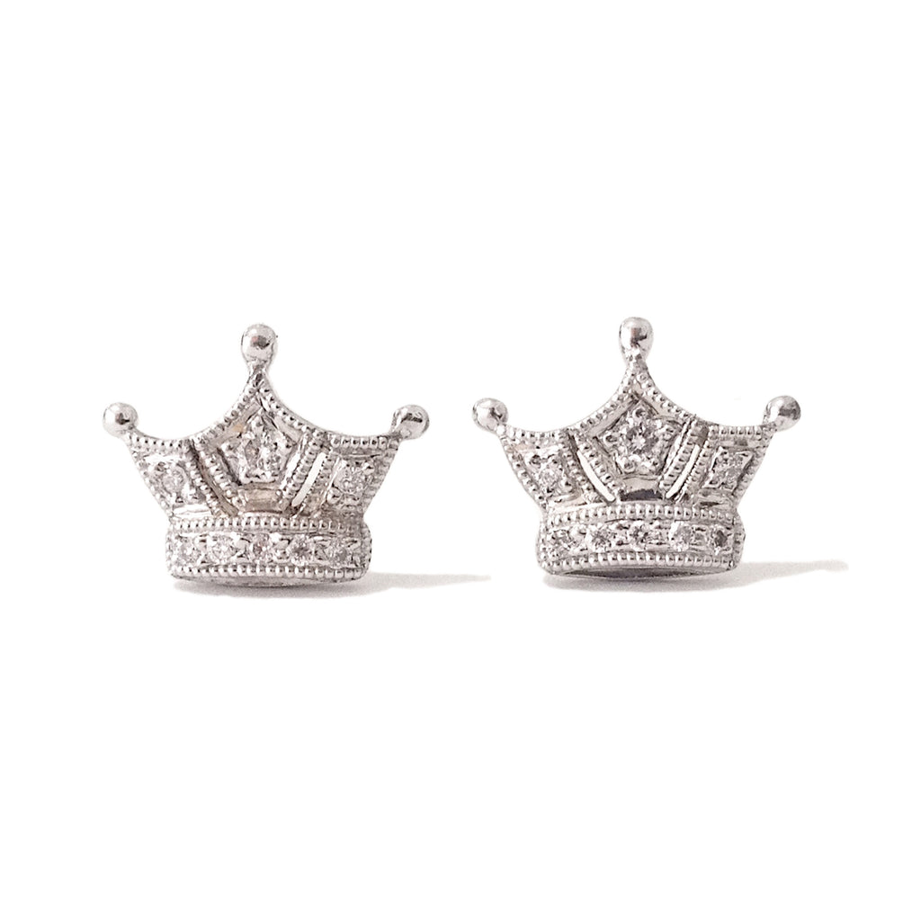 amazon crown earrings sterling dp stud girls jewelry silver com disney