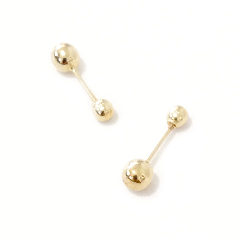 Barbell Collection: Small 14K Gold Hollow Barbell Stud Earrings