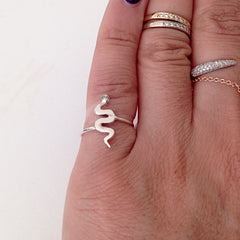14K Gold Swivel Snake Ring