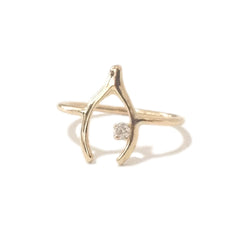 14K Gold & Diamond Wishbone Ring