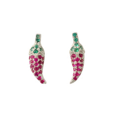 14K Gold Pavé Ruby & Emerald XS Chili Pepper Stud Earrings