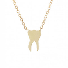 14K Gold Tooth Pendant Necklace