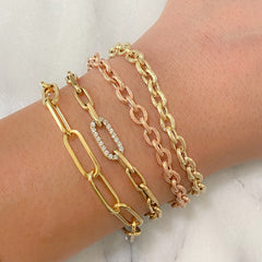 14K Gold Rustic Thick Oval Link Bracelet, Small Size Links
