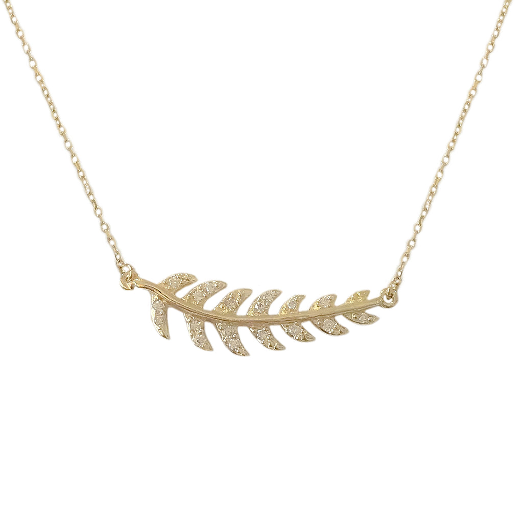 14K Gold Pavé Diamond Leaf Necklace