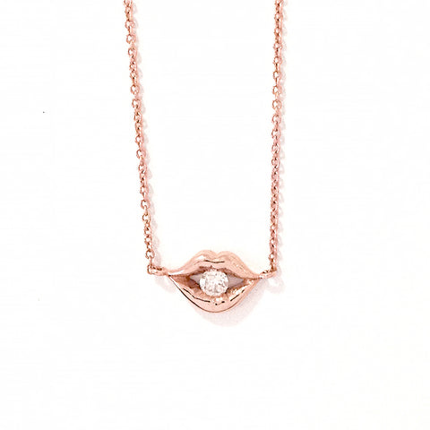 14K Gold & Diamond Lip Pout Necklace