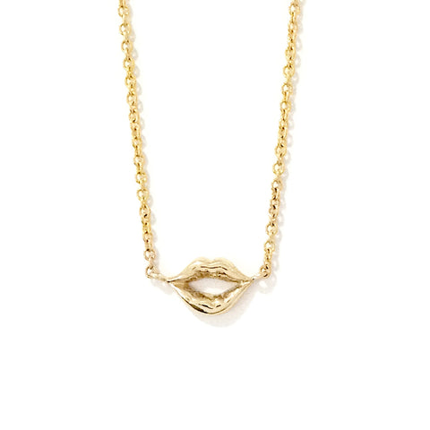 14K Gold Lip Pout Necklace