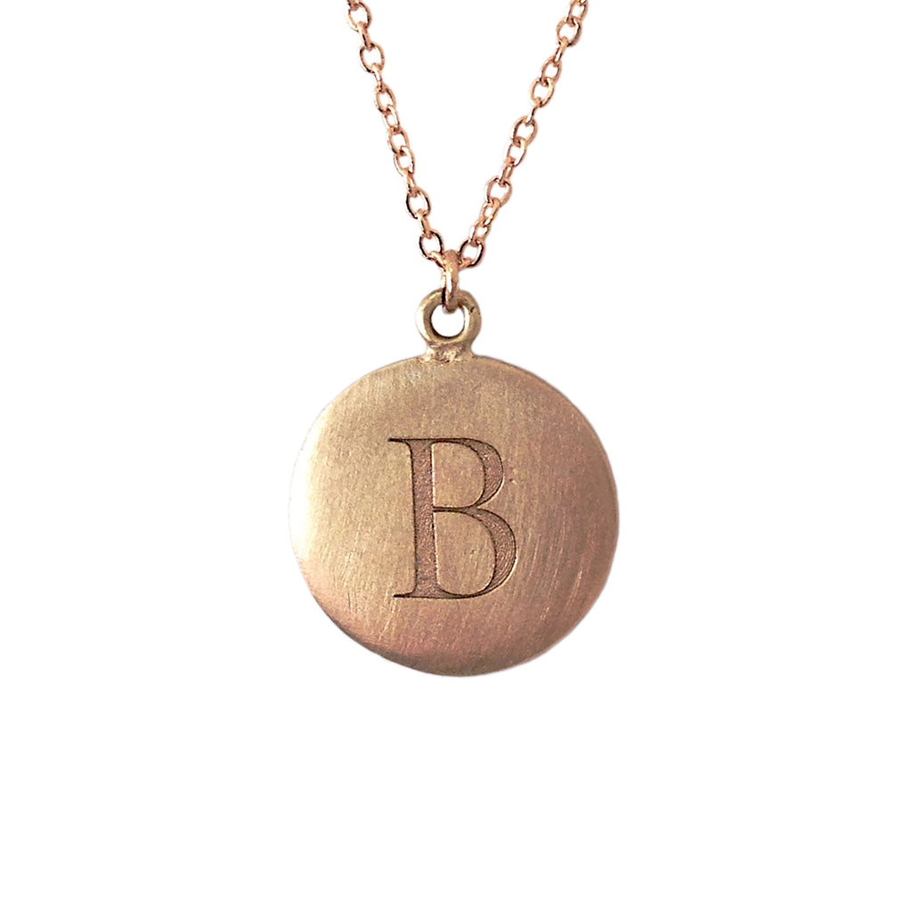 14K Matte Gold Initial Coin Necklace