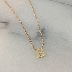 14K Gold Initial Charm Pendant Necklace