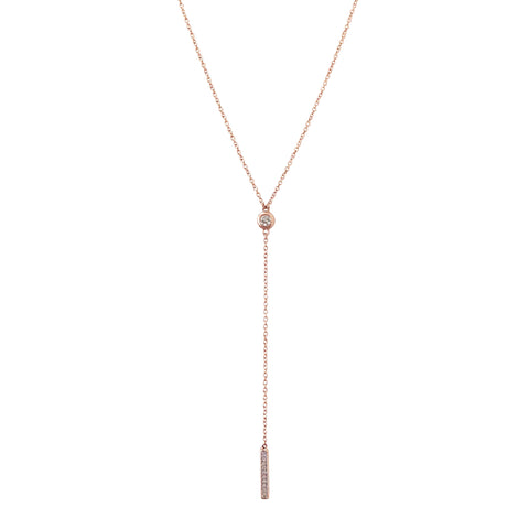 14K Gold & Pavé Diamond Lariat Drop Necklace
