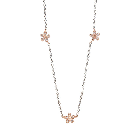 14K Gold & Pavé Diamond Triple Daisy Necklace