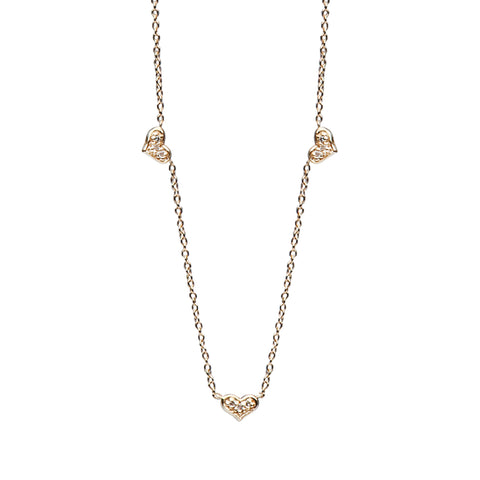 14K Gold & Pavé Diamond Triple Sweetheart Necklace