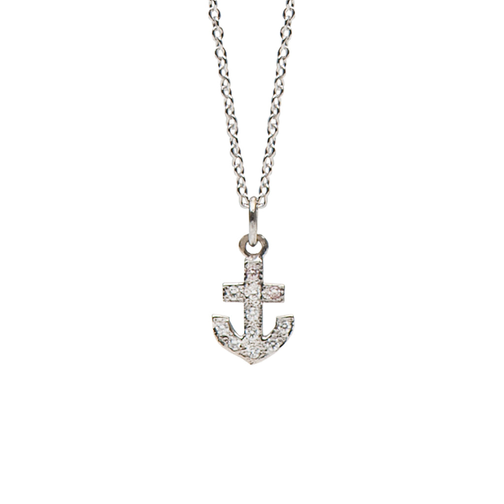 14K Gold & Pavé Diamond XS Anchor Necklace