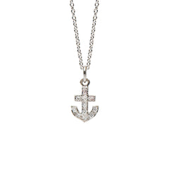 14K Gold Pavé Diamond XS Anchor Necklace