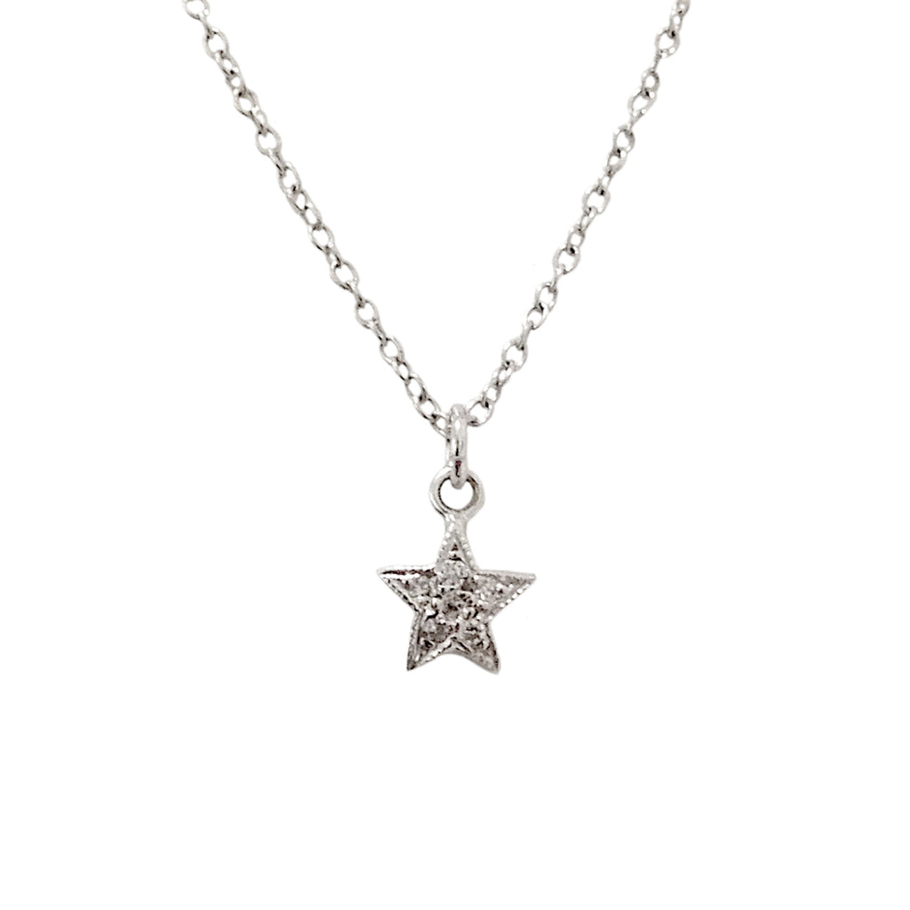 14K Gold & Pavé Diamond XS Star Pendant Necklace