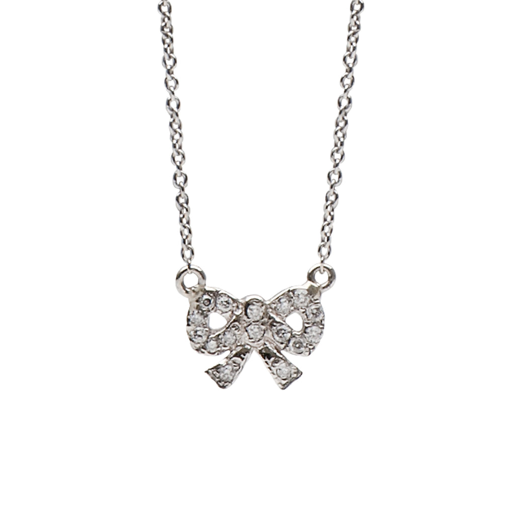 14K Gold & Pavé Diamond Bow Necklace