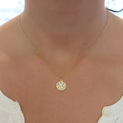 14K Gold Pavé Diamond Full Moon Necklace