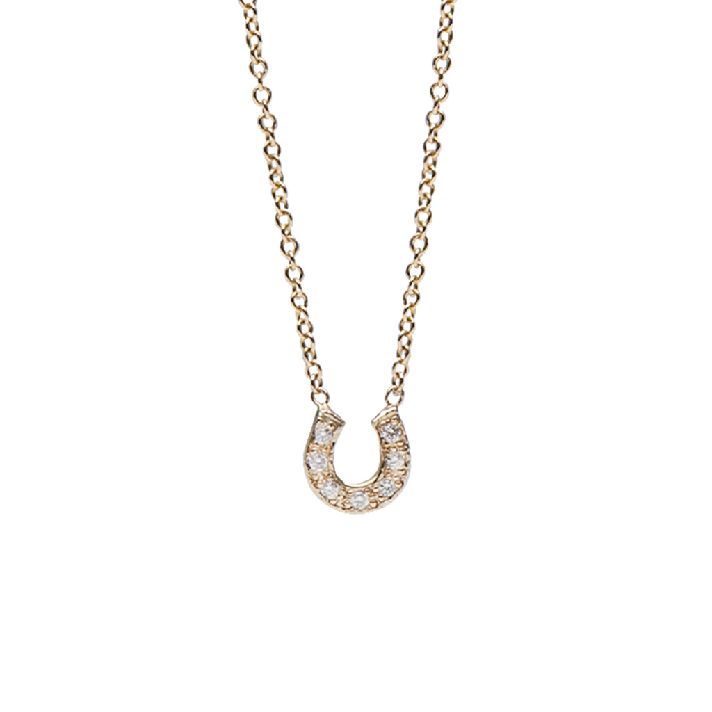 14K Gold Pavé Diamond Horseshoe Necklace ~ XS Size