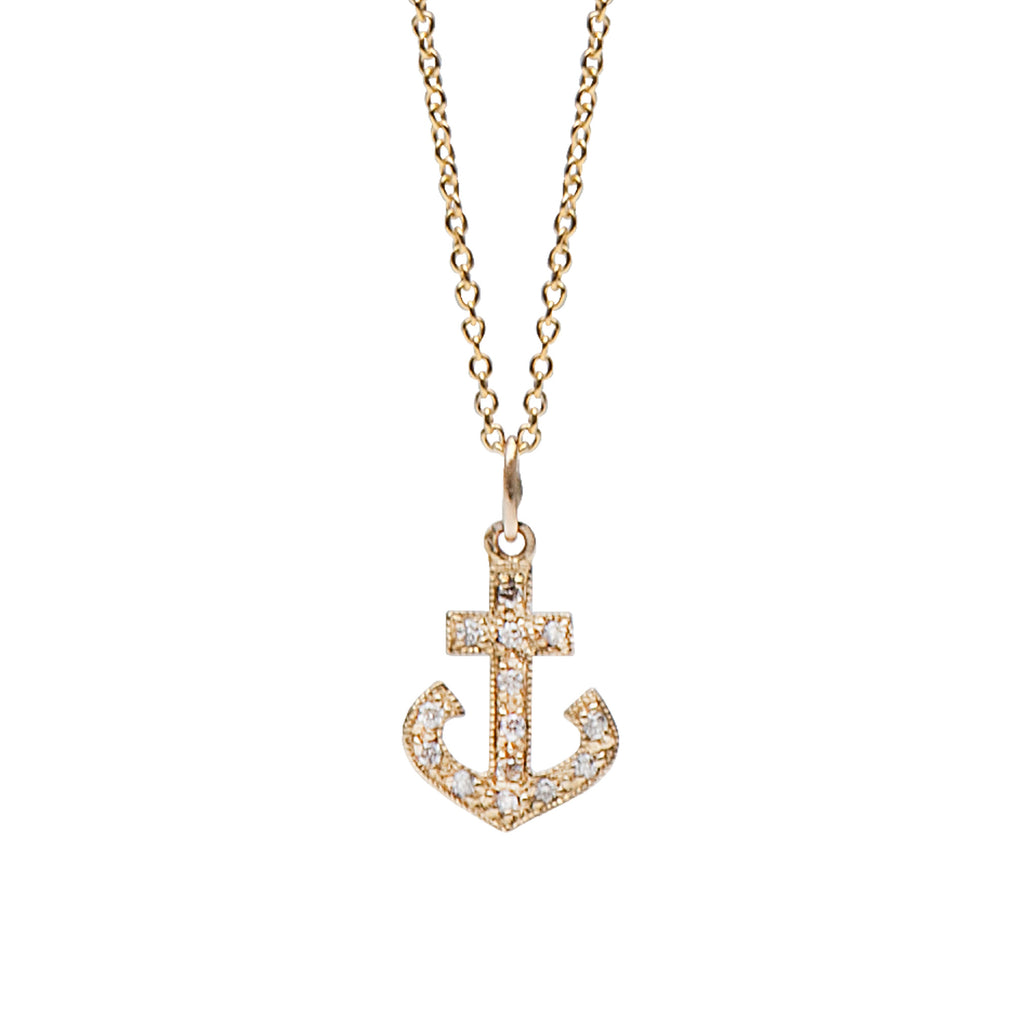 14K Gold & Pavé Diamond Large Anchor Necklace