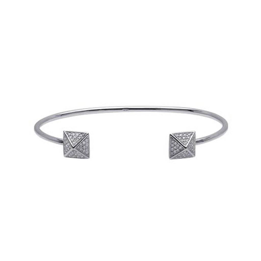14K Gold & Pavé Diamond Double Pyramid Spike Cuff Bracelet