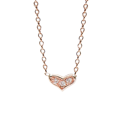 14K Gold & Pavé Diamond Sweetheart Necklace