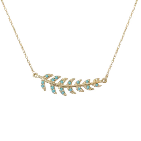 14K Gold Pavé Turquoise Leaf Necklace