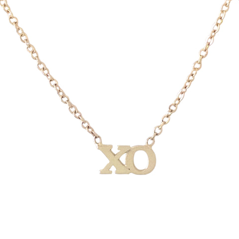 14K Gold 'XO' Charm Pendant Necklace