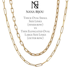 14K Gold Thin Elongated Oval Link Chain Necklace, Large Size Link