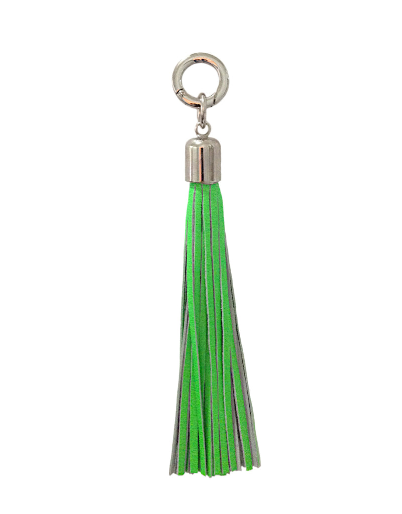 Neon Green Leather Tassel Bag Charm / Keychain