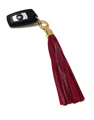 Red Leather Tassel Bag Charm / Keychain