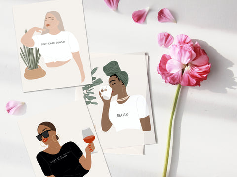 PxR EXCLUSIVE | SELF-CARE ILLUSTRATED BLANK NOTE CARDS | SET OF 3 WITH MATCHING ENVELOPES