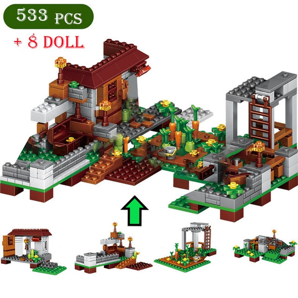 Minecraft House Building Blocks Set ( 533 pcs +8 Dolls )