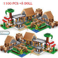Minecraft Two Huts Building Blocks Set (1100 Pcs+8 Dolls)
