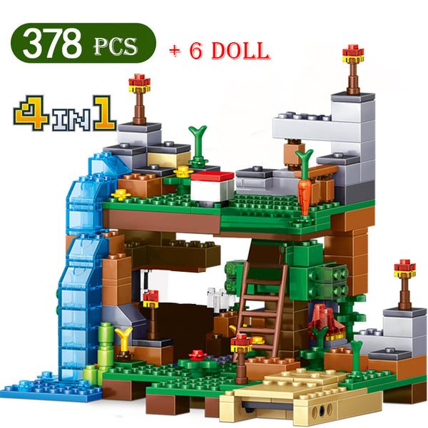 Minecraft Mini Waterfall  Building Block Set(378pcs + 6Dolls)